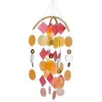 Asli Arts Collection C204 Yellow, Gold, Red Capiz Chime