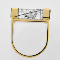 "Tourmalinated Quartz 14K Gold Geometric ""Bar"" Design Ring"