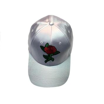 White Satin Snap Back Hat with Red Rose Applique