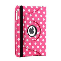 Gearonic 360 Degree Rotating Dual Layer PU Leather Case with Smart Cover function for iPad mini, Pink/White Polka Dot (AV-5231PPUIB_PolkaDot)