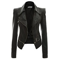 Women Stylish PU Leather Jacket