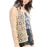 Vintage 90's Beach Dreamer Crocheted Cardigan - One Size Fits Many