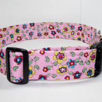 "XL 1.5"" Cute Pink Floral Dog Collar"