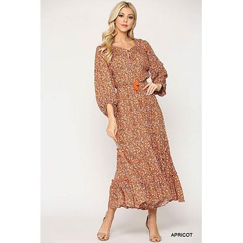 Gigio Ditsy Floral Apricot Printed Scoop Neck Maxi Dress