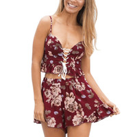 Two Pieces Set Floral Print Women Bohemia Jumpsuit Rompers Fitness Short Playsuits Spaghetti Strap Backless Jumpsuits SN9