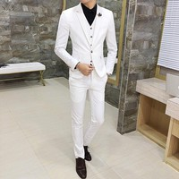 2018 Spring Men's Casual Three-piece Suits /Korean style Slim white Mens suits High quality wedding suits for men dress Clothing