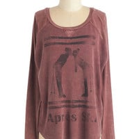 ModCloth Mid-length Long Sleeve Sweatshirt Dreams, Slopes, and Wishes Top