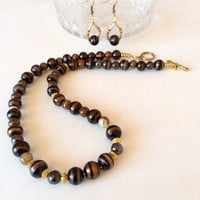 Brown black bead necklace earring set Lampwork bead necklace Glass bead necklace Jewelry gift for her Everyday casual wear Fashion jewelry