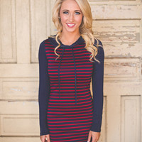 Hooded Tunic- Navy/Red