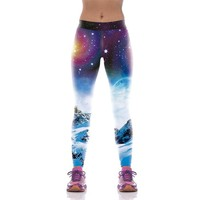 Snowy Mountain Night Sky Leggings