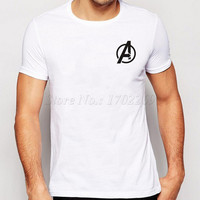 New Fashion The Avengers Symbol Logo Printing Men T-Shirt Short Sleeves Hispter Boy's Cloth Casual Tops Popular Male Tee
