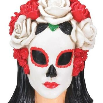 Painted Face Woman Head with Roses Headpiece Mini Statue Day of the Dead 2.75H