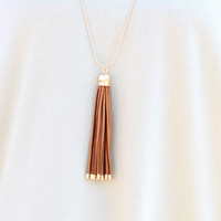 Tassel Time Necklace {Tan}