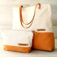 EXPRESS SHIPPING - Large Tote Bag, everyday tote, travel tote, color block bag, cinnamon orange, cream, leather, oversized bag, diaper bag