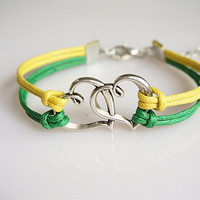 Vintage Silver Double Heart Bracelet,Personalized Jewelry , Anniversary Gifts,Christmas gift, Best Chosen Gift,,Yellow Green Bracelet