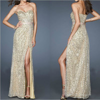 Strapless Sexy Sequins Long Dresses