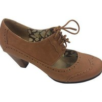Cut Out Lace Up Oxford Booties - Tan