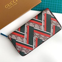 GUCCI New Wave Print Women's Zip Long Wallet Card Holder Bag
