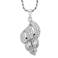 SOLID 925 STERLING SILVER HAWAIIAN CONCH SNAIL SHELL CHARM PENDANT CZ RHODIUM