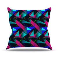 "Alison Coxon ""Confetti Triangles Dark"" Magenta Blue Throw Pillow"