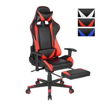 Office Chair Desk Gaming Chair, High Back Ergonomic Adjustable Racing Chair, 360 Degree Swivel and Lying Down Function with footrest Executive Computer Chair Headrest and Lumbar Support (Red)