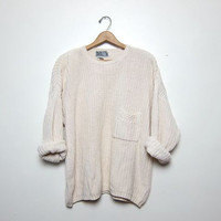 vintage cream white sweater. oversized sweater. pocket sweater.