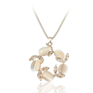 Opal Garland Leaves Women Necklace Jewelry Chain