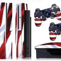 Designer skins for FAT Playstation 3 System Console, PS3 Controller skin included - STARS N STRIPES (USA)