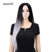 SHANGKE Hair 26''Long Gray Ombre Wig Long Straight Synthetic Wigs For Black Women Heat Resistant Ombre Synthetic Female Wigs