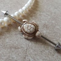 White and Tan Turtle Industrial Barbell 14ga Body Jewelry Ear Jewelry Double Piercing