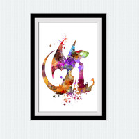 How to train your dragon colorful poster Toothless watercolor art print Home decoration Kids room decor Nursery room wall poster W474