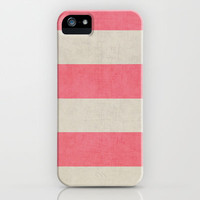 vintage coral stripes iPhone Case by Her Art   Society6
