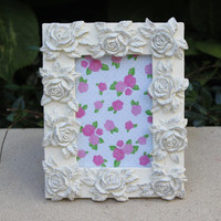 Shabby chic white and silver rose 4 x 5 picture frame