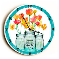 Simple Pleasures Unique Wall Clock by Artist Lisa Weedn