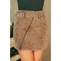 Zip Your Lips Moto Skirt (Washed Brown)