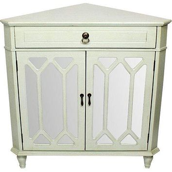 """Display Cabinet - 31"""" X 17"""" X 32"""" Light Sage MDF, Wood, Mirrored Glass Corner Cabinet with a Drawer and Doors"""