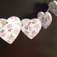 Bunting, Wooden Bunting, Garland, Heart Bunting, Decoupage, Wooden Hearts, Pink, Room Decor, Party Decoration, Pink Bunting, Girls Bedroom