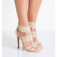 Cara Strappy Caged Heels Stone - Womens Fashion | Forever New