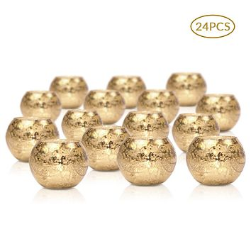 24 Pack | Vintage Mercury Glass Globe Candle Holders (3-Inch, Mary Design, Gold) - For use with Tea Lights - Home Decor, Parties and Wedding Decorations