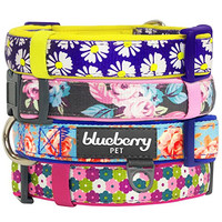 "Blueberry Pet Soft & Comfortable Loving Daisy Prints Ultimate Adjustable Padded Dog Collar, Neck 18""-26"", Large, Collars for Dogs"