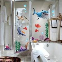 Finding Nemo Wall Stickers Sharks and Fish's Live Sea Removable Children/kids Home - Decors Mural Art Nursery Decal NEW (Decowall-stickers)