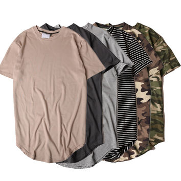 2017 Summer Solid Curved Hem Camo T-shirt Men Longline Extended Camouflage Hip Hop Tshirts Urban Kpop Tee Shirts Mens Clothing