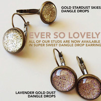 fall wedding /// gold stardust skies dangle drop earrings - gold metallic sparkly moon - summer nights and starry skies