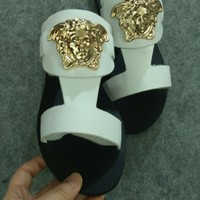 Versace White Women Fashion Casual sandals Slipper Shoes