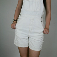 White OVERALLS Shortalls Shorts Gap 90s // Small //
