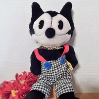 """Felix the Cat Stuffed Plush Animal 16"""" Black and White Cartoon Cat Toy Vintage 1989 Applause CollectibleComic Strip Cat Free Shipping"""