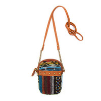 Multi-Colored Embroidered Aztec Pattern Smartphone Crossbody Bag
