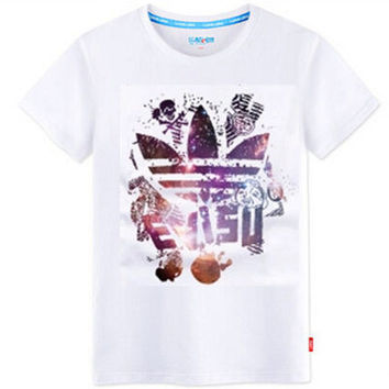 """""""Adidas"""" Unisex Fashion Casual Multicolor Clover Letter Print Round Neck Short Sleeve Loose Cotton T-shirt"""