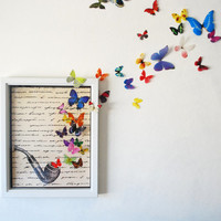 Smoking Pipe and Butterfly Fantasy Print- 2 Sizes Available
