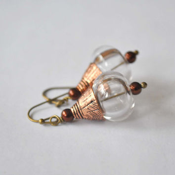 Clear Glass Earrings, Light Weight Hollow, Etched Copper, Glass Bead Earrings